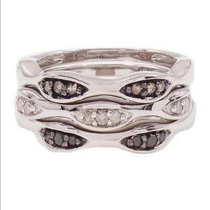 Savvy Cie Diamond Detail Stack Ring Set
